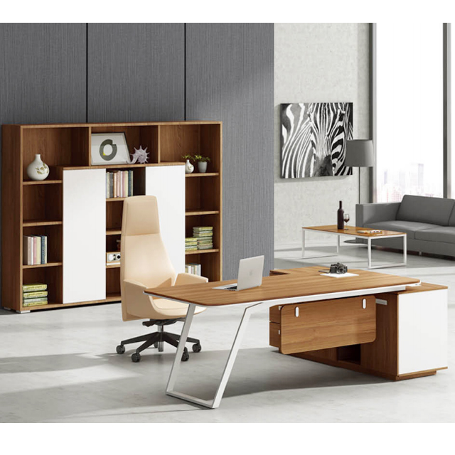 Standard Dimensions Office Desk Set Luxury Wooden Furniture White Executive Ceo